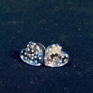 Betsey Johnson Blue Starry Heart Earrings Studs